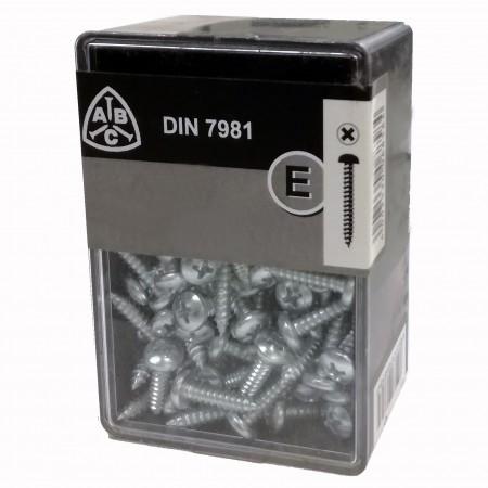 Caja 110 tornillos din 7981 chapa 4,8x25 c/anc. galv.