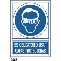 Señal 210x297 pvc 130 306 oblig. usar gafas