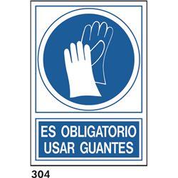 Señal 210x297 pvc 135 310 oblig. usar guantes