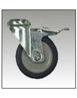 Rueda goma gris pasador p/Tornillodiámetro x métrica 125
